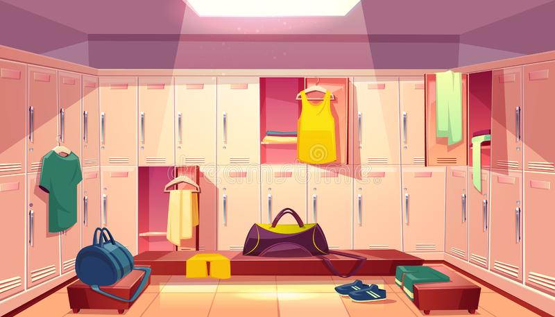 Vector changing room with lockers for sports. Vector cartoon school gym with wardrobe, changing room with open lockers and clothings for football or basketball vector illustration