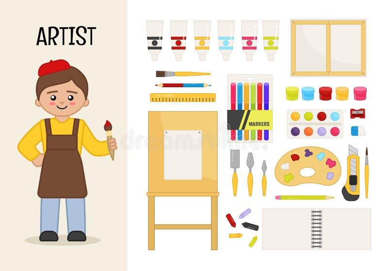 Vector character artist. stock illustration