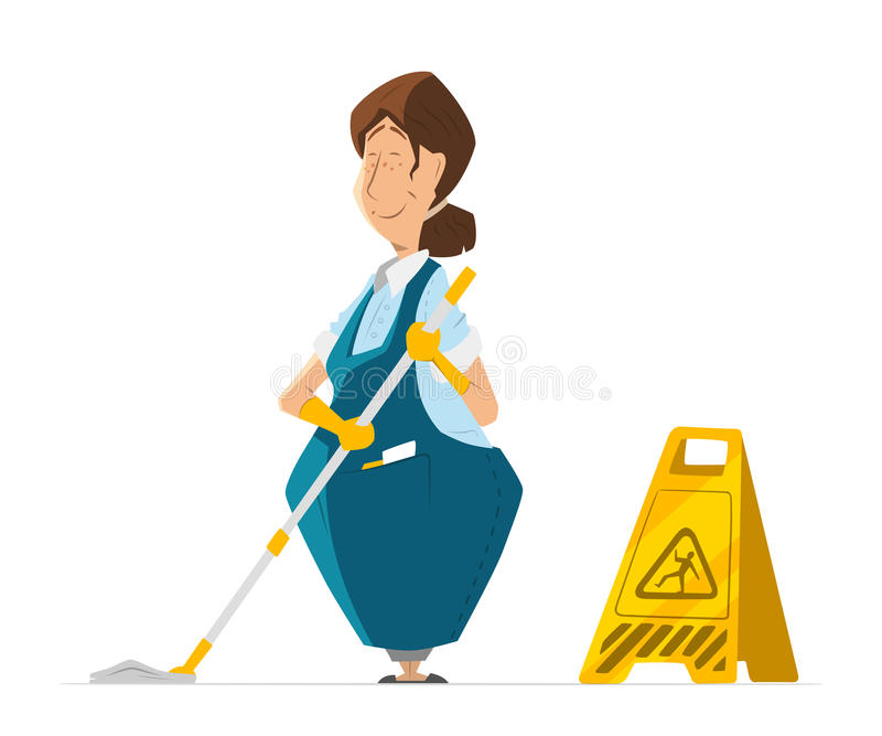 Vector character cleaner lady janitor woman in uniform cleaning royalty free illustration