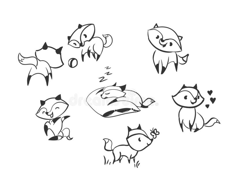 Vector character fox baby set design elements stock illustration