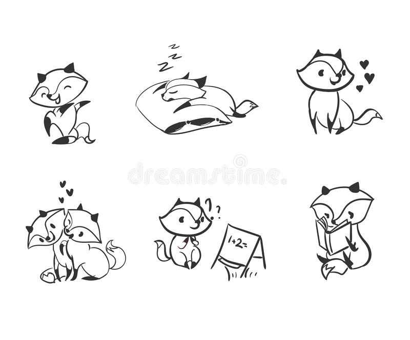 Vector character fox baby set design elements vector illustration