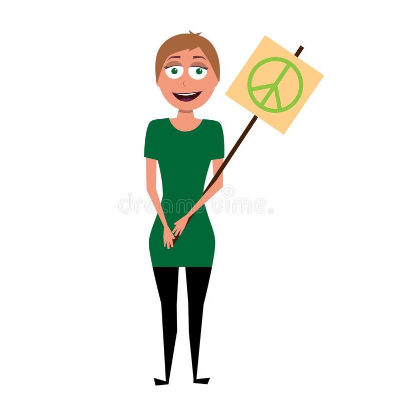Vector character of hippie activist royalty free stock photography