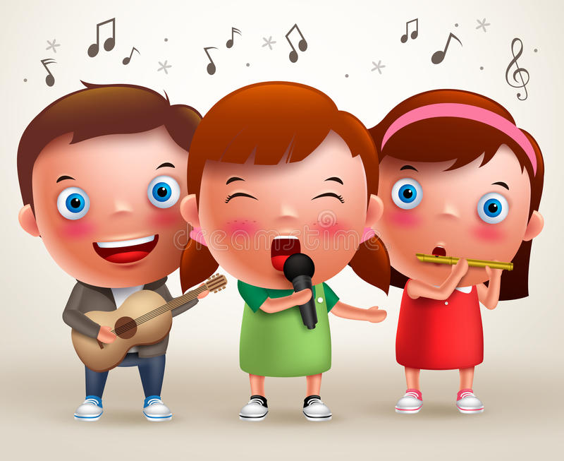 Vector character kids singing and playing guitar and flute while standing. And performing in front of stage. Vector illustration vector illustration