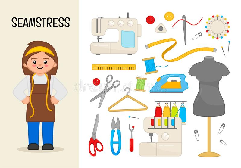 Vector character seamstress. stock illustration