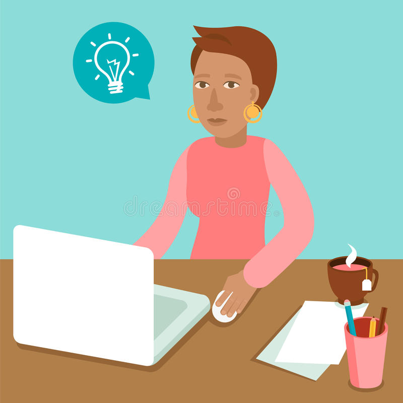 Vector character working on her laptop stock illustration