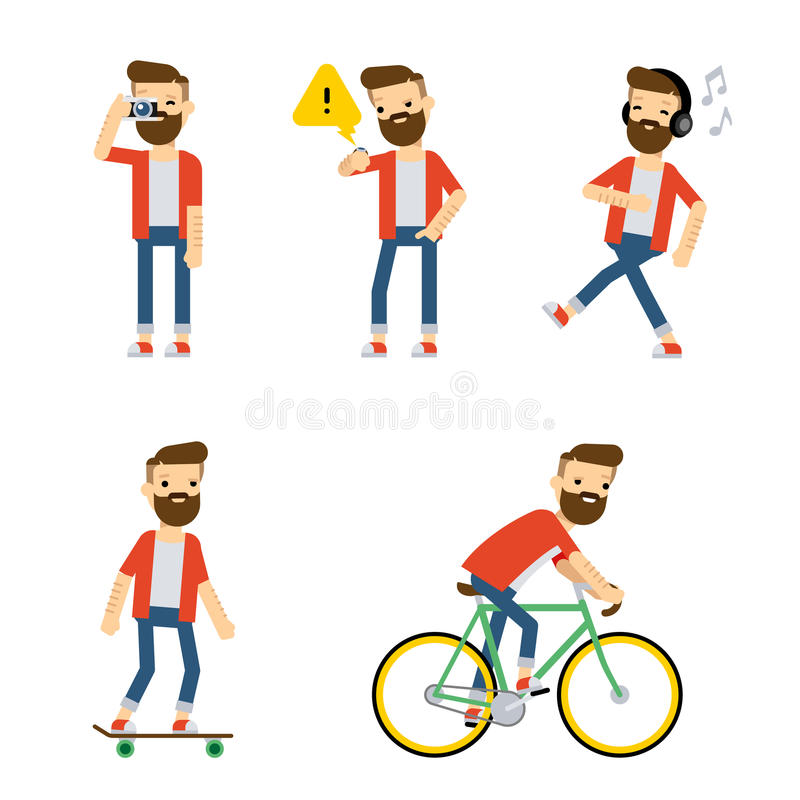 Vector characters: hipster guy doing some activities. vector illustration