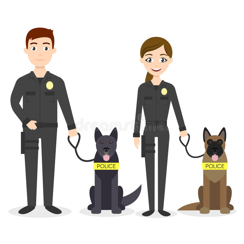 Vector characters: two young police officers man and woman. With their police dogs vector illustration