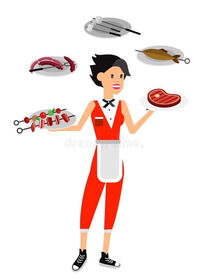 Vector Charaktermädchen auf Picknick oder Bbq-Partei Chef Cooking vektor abbildung