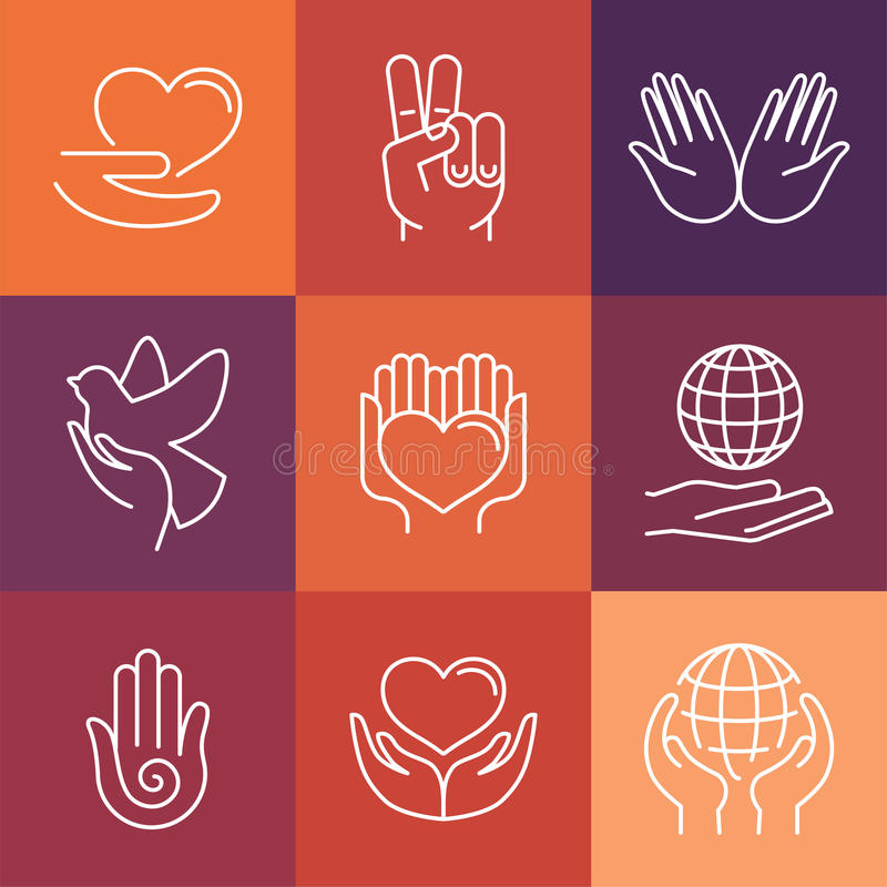 Vector charity line logos and signs royalty free illustration