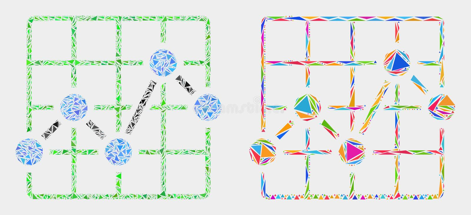 Vector Chart Grid Mosaic Icon of Triangle Items. Chart grid collage icon of triangle items which have various sizes and shapes and colors. Geometric abstract royalty free illustration