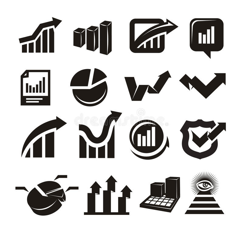 Download Vector charts icons set stock vector. Image of icons - 34242943