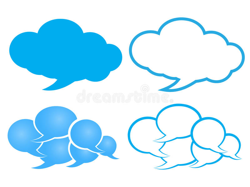 Download Vector Chat Bubble In A Cloud Of Blue And White With Outline Stock