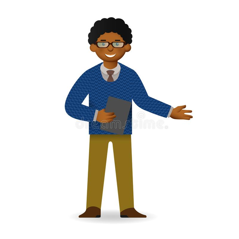 Vector cheeky african man character explaining pose stock illustration