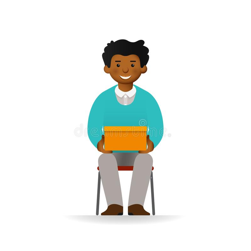 Vector cheeky african man character sitting and holding box vector illustration