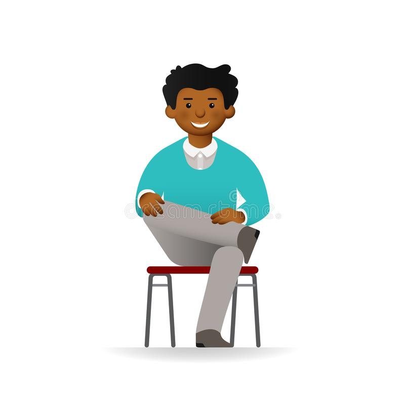 Vector cheeky african man posing. Sitting on chair on ones foot.  royalty free illustration