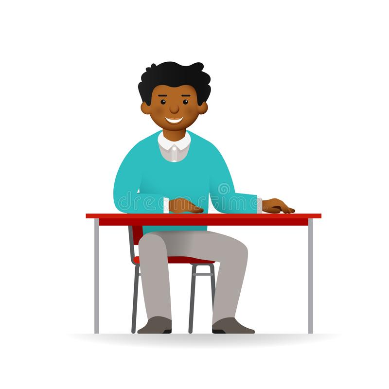 Vector cheeky african man in sweater and pants posing. Sitting at table.  royalty free illustration
