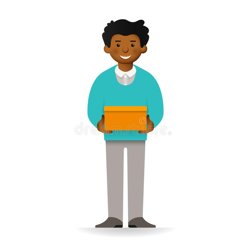 Vector cheeky african man in sweater and pants posing. Standing and holding box.  royalty free illustration
