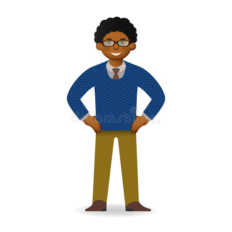 Vector cheeky african man in sweater and shirt posing. Bossy gesture.  royalty free illustration