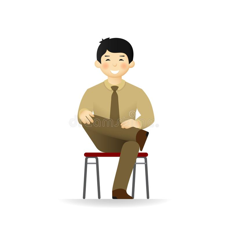 Vector cheeky asian man in business suit posing. Sitting on chair on ones foot.  stock illustration