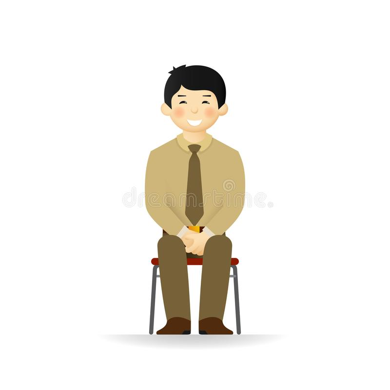 Vector cheeky asian man in business suit posing. Sitting on chair. royalty free illustration
