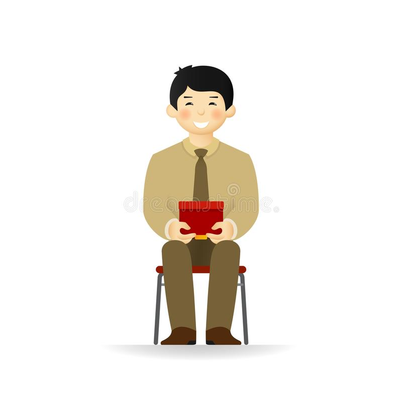 Vector cheeky asian man in business suit posing. Sitting and holding box. stock illustration