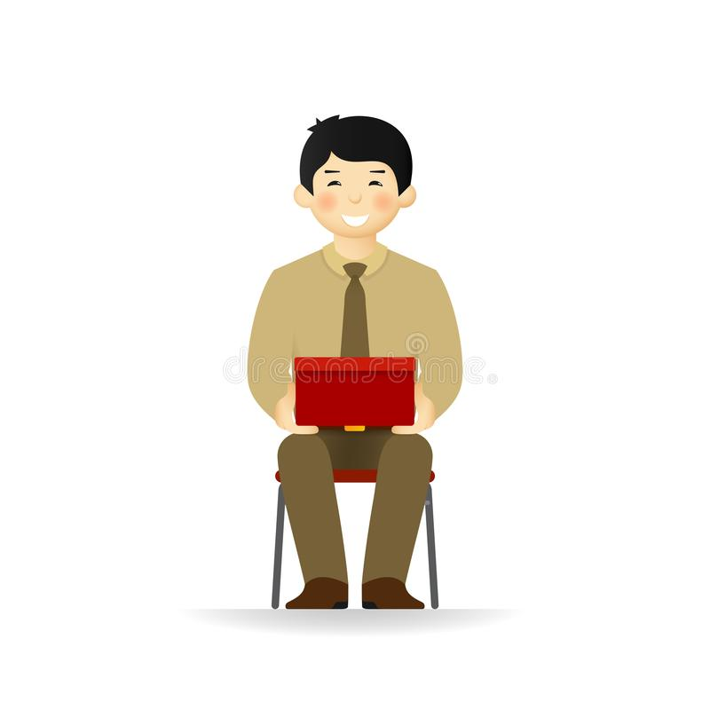 Vector cheeky asian man in business suit posing. Sitting and holding box.  royalty free illustration