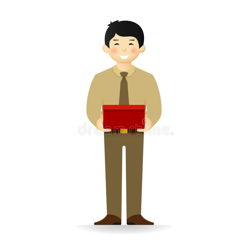 Vector cheeky asian man in business suit posing. Standing and holding wide box.  royalty free illustration