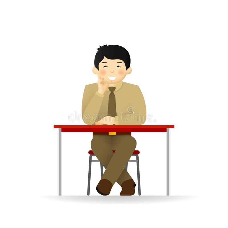 Vector cheeky asian man in sweater and shirt posing. Sitting at table. Vector cheeky asian man in sweater and shirt posing. Sitting at table stock illustration