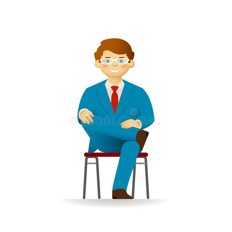 Vector cheeky caucasian man in business suit posing. Sitting on chair on ones foot. Vector cheeky caucasian man in business suit posing. Sitting on chair on vector illustration