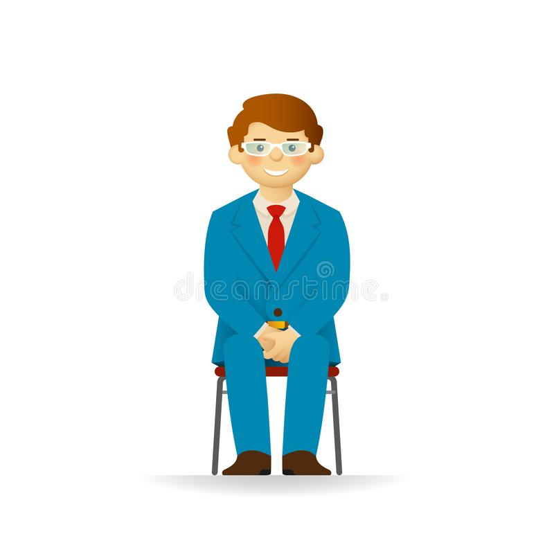 Vector cheeky caucasian man in business suit posing. Sitting on chair.  stock illustration