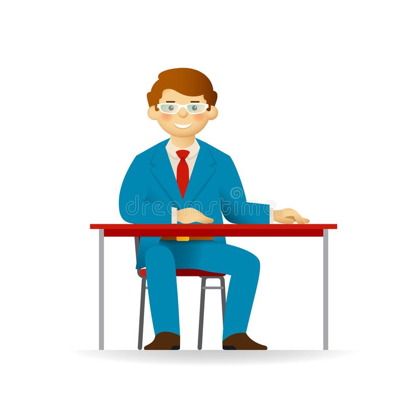 Vector cheeky caucasian man in business suit posing. Sitting at table.  vector illustration