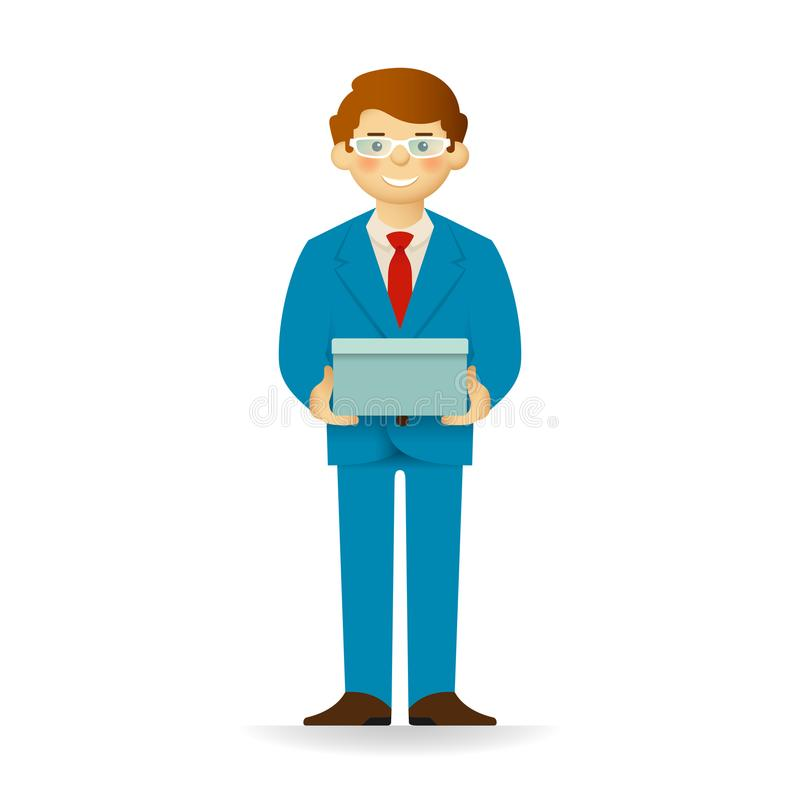 Vector cheeky caucasian man character standing and holding box.  vector illustration