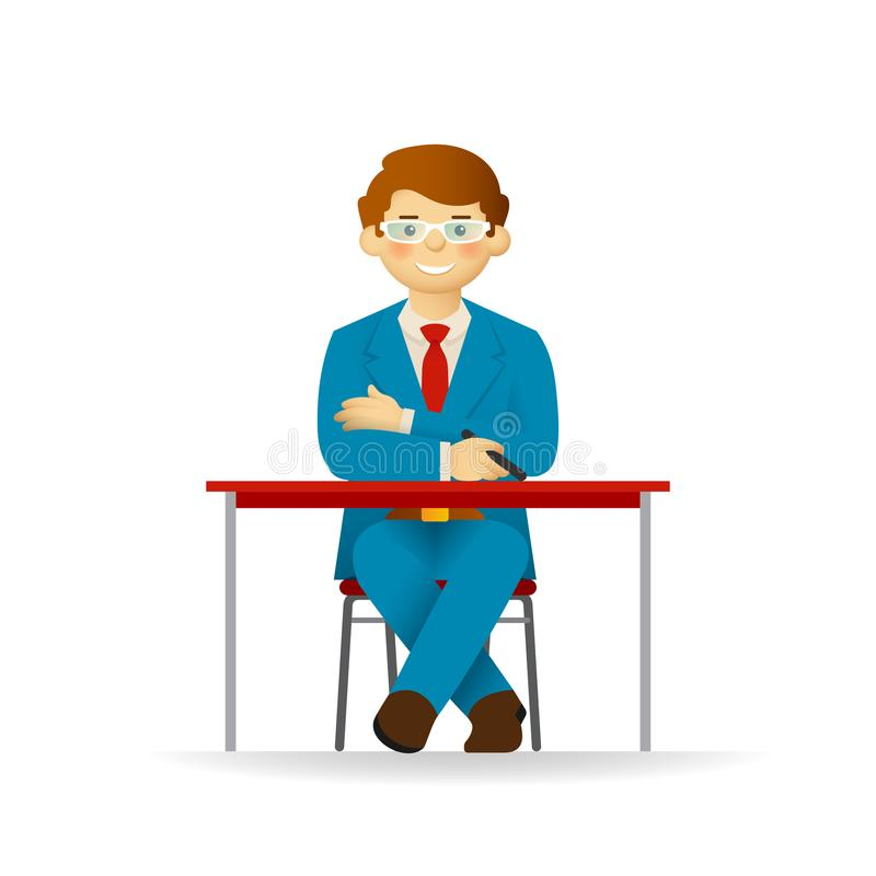 Vector cheeky caucasian man in suit sitting at table stock illustration