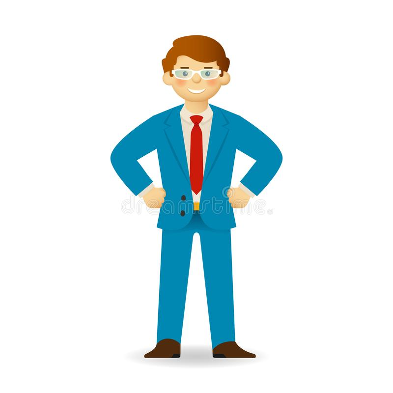 Vector cheeky caucasian man in sweater and shirt posing. Bossy gesture.  stock illustration