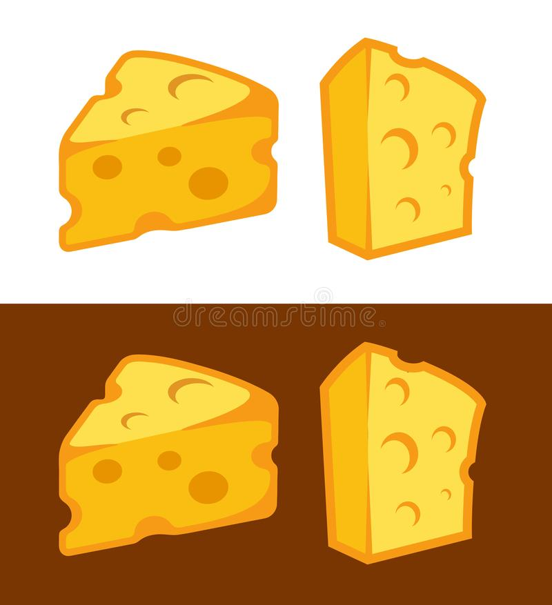 Vector Cheese icon illustration on white and dark brown background stock illustration