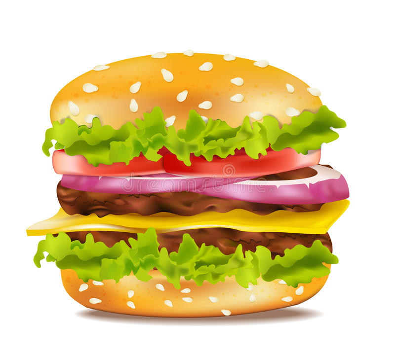 Vector cheeseburger on a white background royalty free illustration