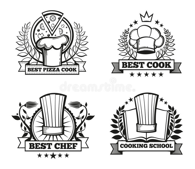 Vector Chef Hat Labels Template For Restaurant Menu Design Stock ...