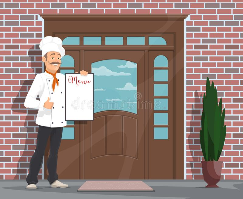 Vector chef man with menu inviting to restaurant stock illustration