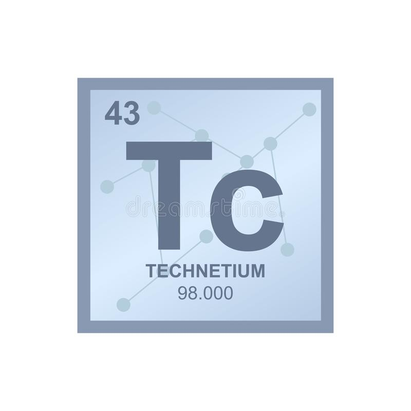 Vector chemical symbol of technetium from the periodic table of the elements on the background from connected molecules. Symbol is royalty free illustration