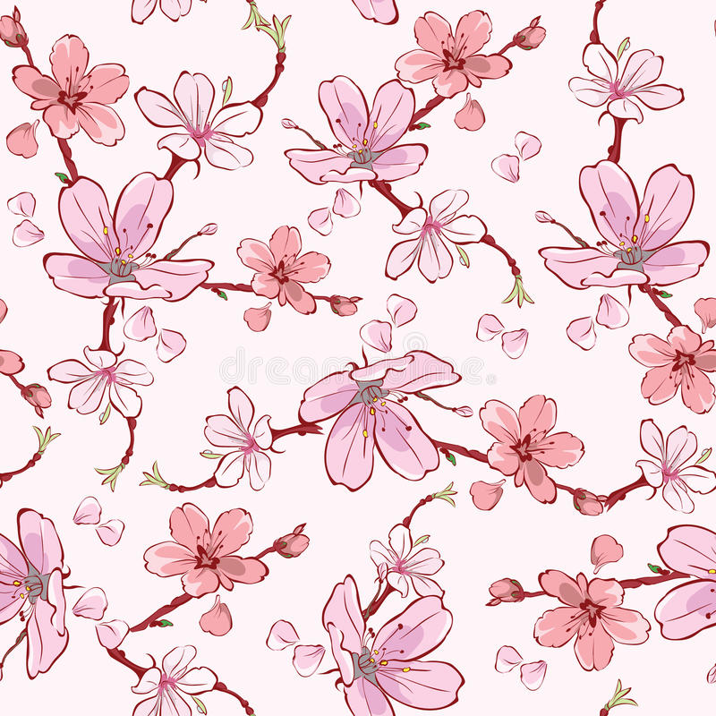 Vector Cherry Sakura Flowers Seamless Pattern rosado libre illustration