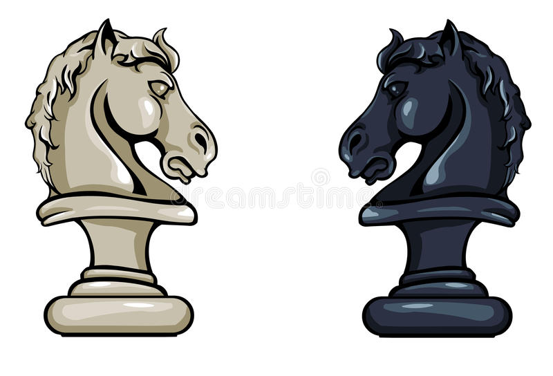 Vector Chess Knight - Black and White Variations vector illustration