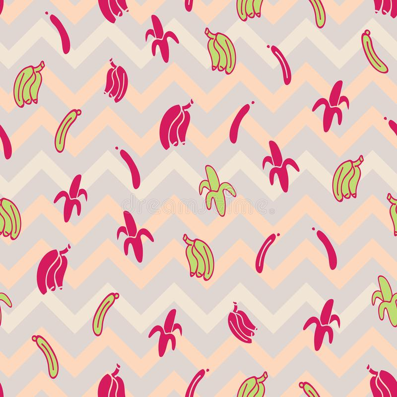 Vector chevron cute bananas seamless pattern background. Perfect for fabrics, wallpaper, gift wrapper, scrap booking, home decor projects stock illustration