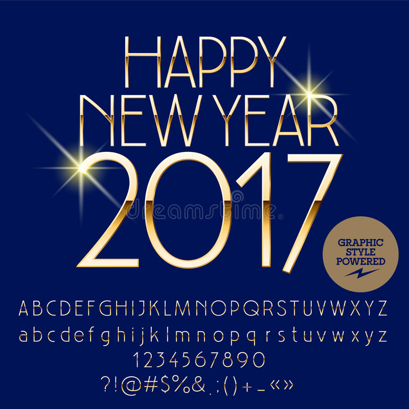 Download Vector Chic Happy New Year 2017 Greeting Card Stock