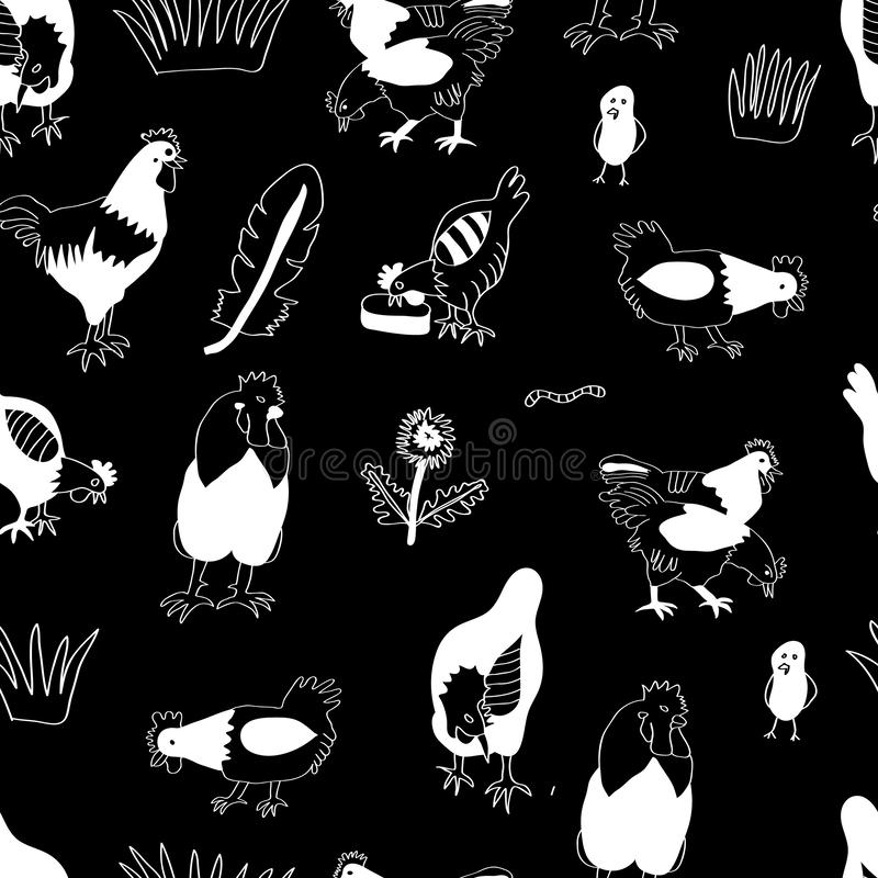 Vector chicken, hen und cock white silhouettes on black background. Poultry business background. vector illustration