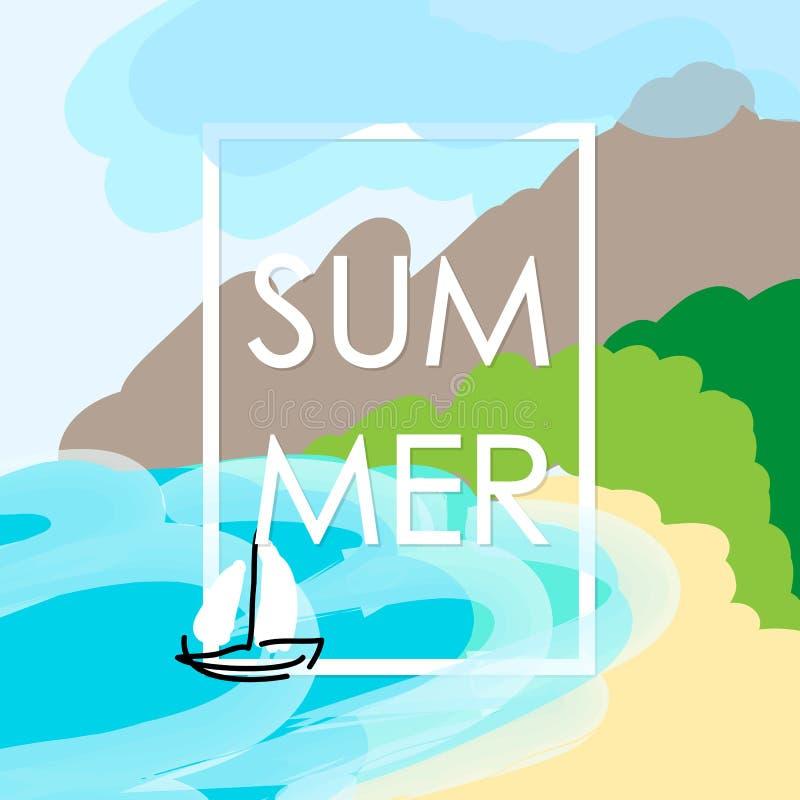 Vector Child Drawing Summer Vacation Stock Vector - Illustration of ...
