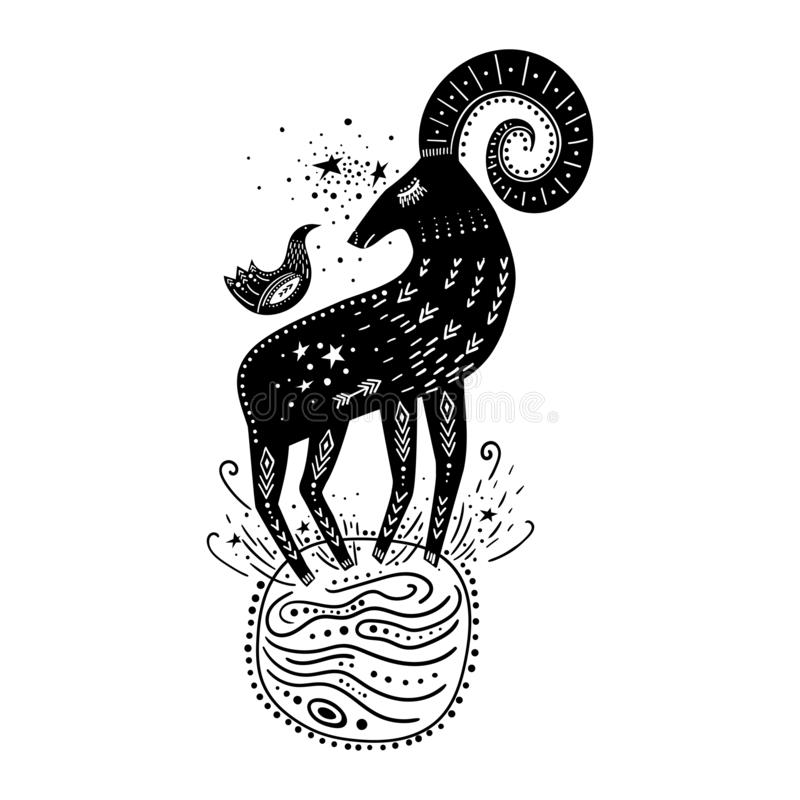 Vector childish hand-drawn illustration. Mountain sheep standing on the planet in space and a bird sitting on it. Black and white vector illustration