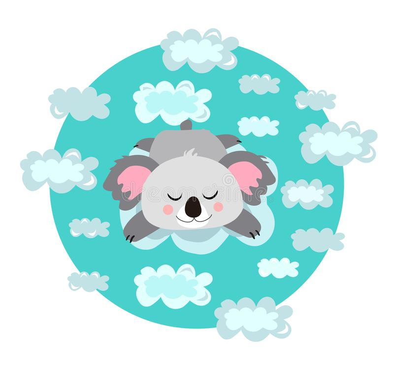 Vector childish print, illustration. Cute, kawaii koala, bear dreaming,relaxing or sleeping in the clouds. Soft blue colors. vector illustration