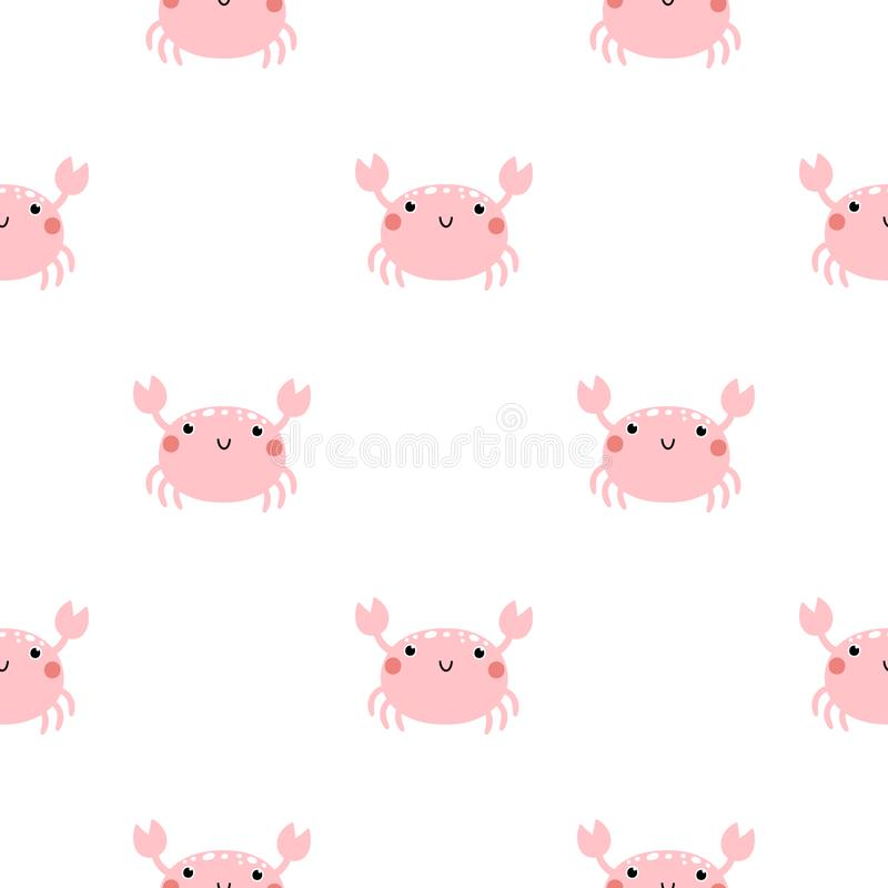 Vector childish seamless pattern with cute crabs on white background. vector illustration