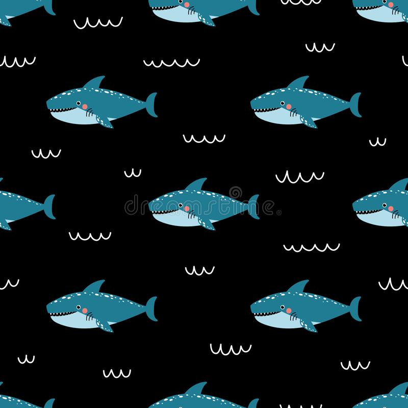 Vector childish seamless pattern with cute shark on black backgroundÑŽ vector illustration