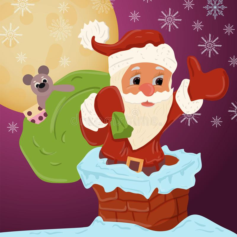 Childrens illustration of Christmas and new year theme in the style of flat Santa Claus with a bag of gifts climbs into the chimne royalty free illustration
